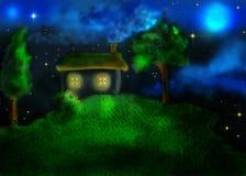 Casa e duas árvores no monte ilustração royalty free