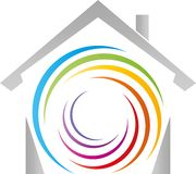 Casa e espiral em cores do arco-íris, em pintor e em logotipo do jardim de infância ilustração stock