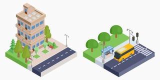 Casa e estação de ônibus isométricas de Brown Imagens de Stock