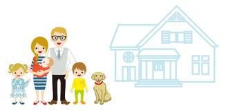 Casa e família caucasiano ilustração do vetor