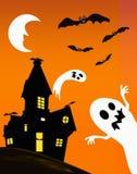 Casa e fantasmas assombrados ilustração royalty free