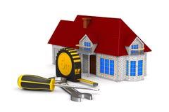 Casa e ferramentas no fundo branco Ilustração 3d isolada ilustração stock