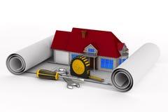 Casa e ferramentas no fundo branco Ilustração 3d isolada ilustração royalty free