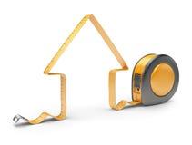 Casa e fita de medição 3D. Ferramenta da construção ilustração do vetor