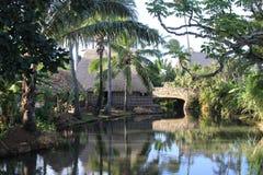 Casa e fiume di Polyneisian Fotografia Stock Libera da Diritti