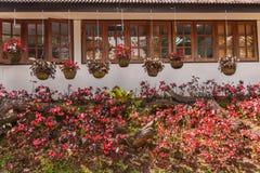 Casa e giardino floreale Immagini Stock Libere da Diritti