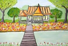 Casa e jardim Fotografia de Stock Royalty Free