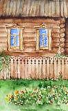 Casa e jardim da cabana da aquarela na vila Imagens de Stock