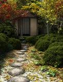 Casa e jardim japoneses de chá ilustração stock
