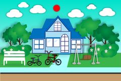 Casa e jardim para o exercício e o abrandamento - vetor Imagem de Stock