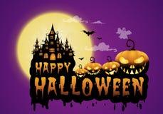 a casa e a Lua cheia assombradas com abóboras e fantasma, party o fundo feliz da noite de Dia das Bruxas Imagens de Stock Royalty Free