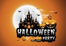 a casa e a Lua cheia assombradas com abóboras e fantasma, party o fundo feliz da noite de Dia das Bruxas ilustração royalty free