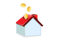 Casa e moeda Ilustração Royalty Free