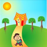 Casa e natureza ilustração do vetor