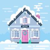 Casa e paesaggi di giorno di inverno Illustrazione piana di riserva di vettore Immagini Stock Libere da Diritti