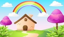 Casa e paisagem dos desenhos animados Fotografia de Stock Royalty Free