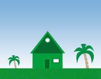 Casa e palmeiras Foto de Stock Royalty Free