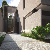 Casa e patio di estate moderni Immagini Stock Libere da Diritti
