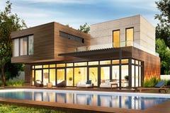 Casa e piscina moderne Vista di sera royalty illustrazione gratis