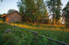 Casa e prado imagem de stock