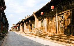 Casa e ruas dos cena-povos de Pingyao fotos de stock royalty free