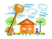 Casa e tasto dell'illustrazione Immagini Stock Libere da Diritti