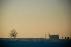 Casa ed albero del sole Fotografia Stock Libera da Diritti