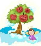 Casa ed angolo di albero del hight del cielo illustrazione di stock