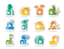 Casa ed icone di assicurazione e di rischio della casa Fotografia Stock Libera da Diritti