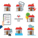 Casa ed insieme di vettore dell'illustrazione delle icone di assicurazione e di rischio della casa Immagini Stock Libere da Diritti