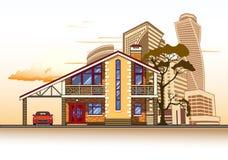 Casa, edificios altos, árbol y nubes Foto de archivo libre de regalías