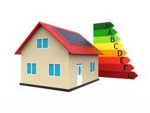 Casa eficiente da energia, rendição 3d Imagens de Stock
