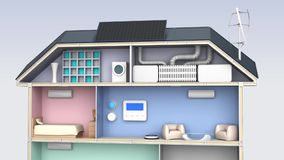Casa elegante con los dispositivos económicos de energía libre illustration