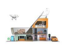 Casa elegante con los dispositivos económicos de energía, los paneles solares y las turbinas de viento Fotos de archivo