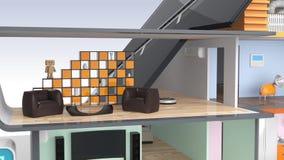 Casa elegante con los dispositivos económicos de energía, los paneles solares y las turbinas de viento stock de ilustración