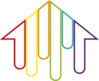Casa em cores do arco-íris, em pintor e em logotipo dos bens imobiliários ilustração royalty free
