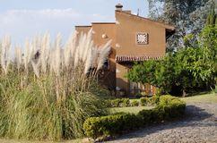 Casa em México com as plantas da economia da água Foto de Stock