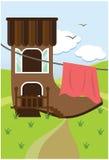 Casa em um carregador ilustração do vetor