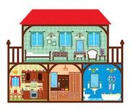 Casa em um corte Imagens de Stock Royalty Free