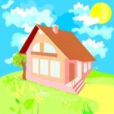 Casa em um dia de verão Imagens de Stock Royalty Free