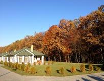 casa em um fundo da floresta dourada do outono imagem de stock royalty free