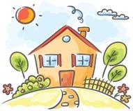 Casa em um monte ilustração stock