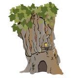 A casa em uma árvore plana Imagem de Stock
