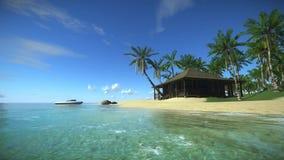 Casa em uma ilha tropical, 3D animação da costa tropical da ilha em um dia de acalmação, feriados no paraíso tropical no o vídeos de arquivo
