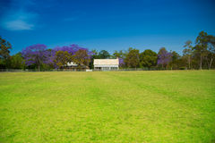 Casa em uma pradaria com cerca e as árvores brancas Fotos de Stock