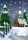Casa en bosque de la nieve ilustración del vector