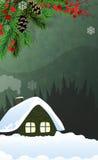 Casa en bosque del invierno Fotografía de archivo libre de regalías