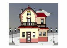 Casa en clima tempestuoso Imagenes de archivo