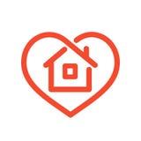 Casa en corazón stock de ilustración