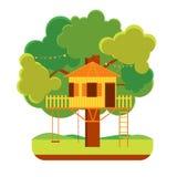 Casa en el árbol de la historieta Vector ilustración del vector